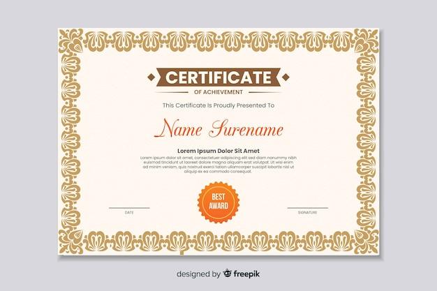 Certificado educacional plano de realização