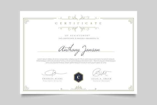Certificado elegante com modelo de quadro