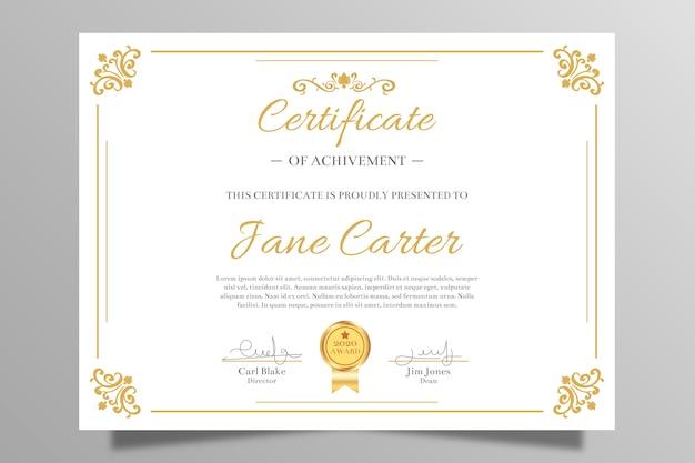 Certificado elegante de conquista