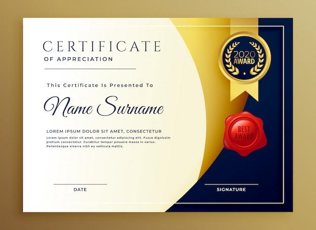 Certificado elegante de design de modelo de apreciação