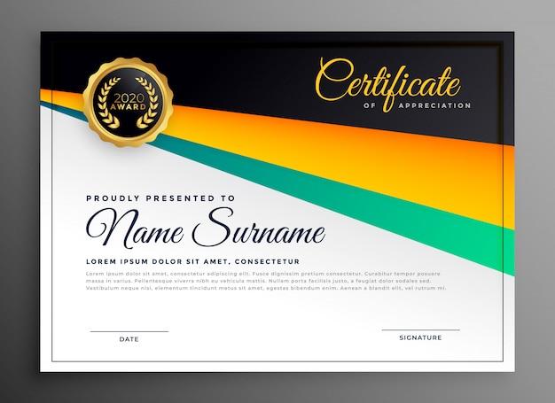 Certificado elegante de modelo de agradecimento