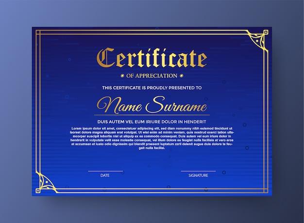 Certificado elegante em azul moderno