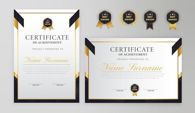 Certificado elegante em preto e ouro com emblema e modelo a4 de vetor de borda