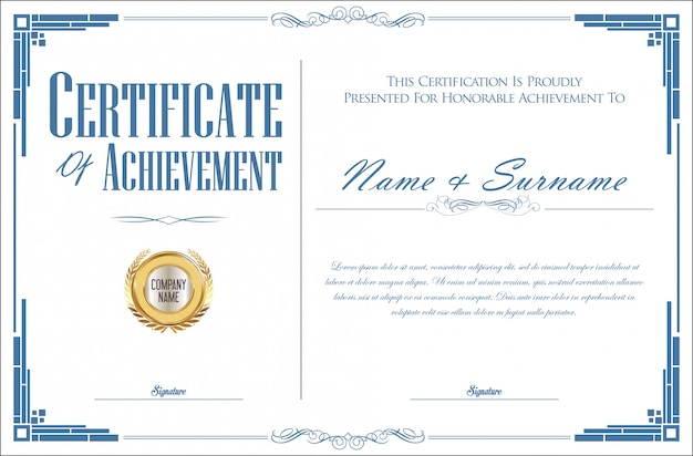 Certificado elegante ou diploma vintage design retro