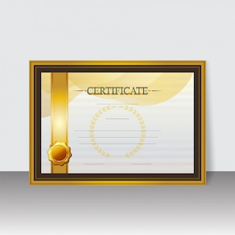Certificado em branco do melhor diploma de prêmio em fram dourado e marrom