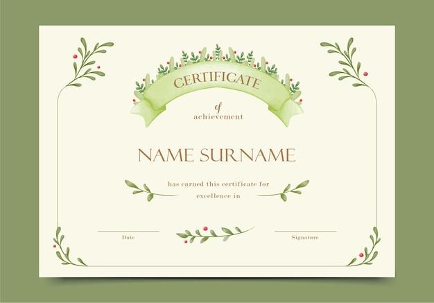 Certificado floral verde desenhado à mão