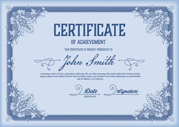 Certificado. fronteira da moeda do diploma do modelo vintage.