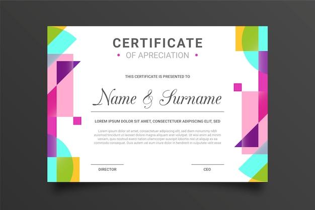 Certificado geométrico colorido de agradecimento