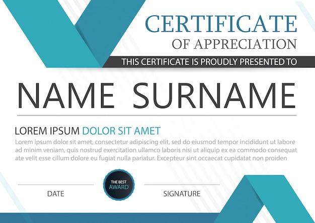 Certificado horizontal de elegância azul com ilustração vetorial, modelo de certificado de quadro branco com apresentação de padrão limpa e moderna