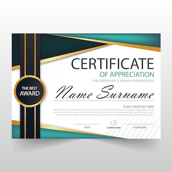 Certificado horizontal verde elegant com ilustração do vetor