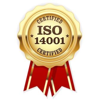 Certificado iso - selo dourado de padrão de qualidade, gestão ambiental