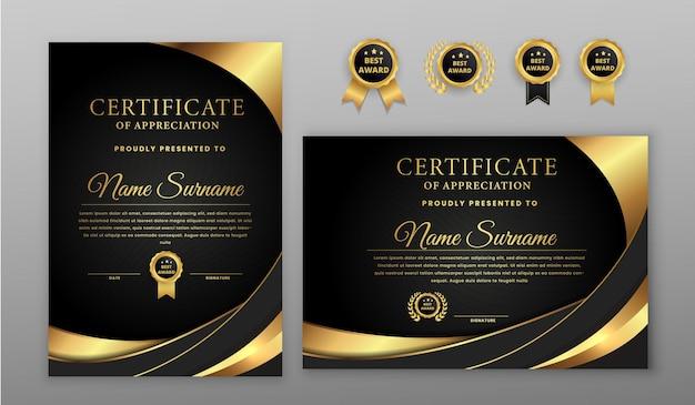 Certificado luxuoso de meio-tom dourado e preto com emblema dourado e modelo de borda