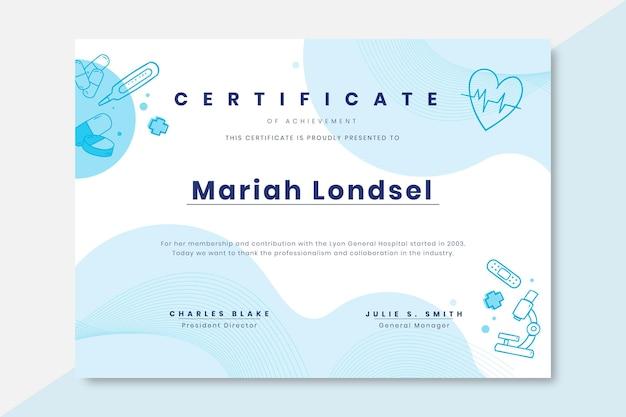 Certificado médico de monocolor doodle