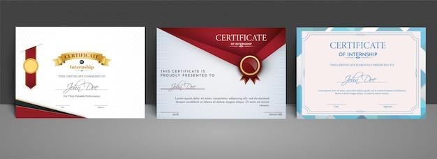 Certificado melhor conjunto de diploma de prêmio.