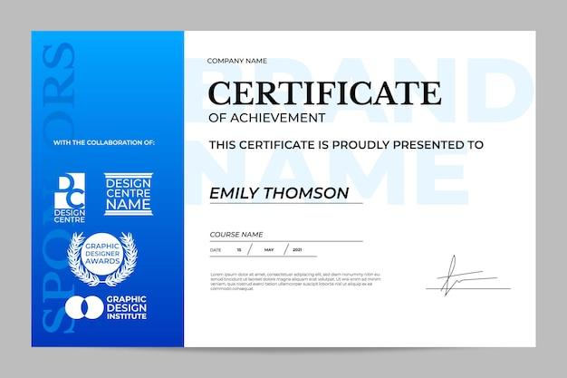 Certificado mínimo com gradiente