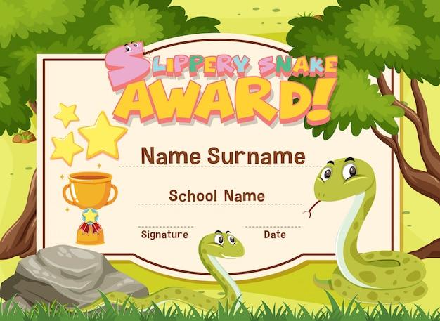Certificado modelo design prêmio cobra escorregadia com duas cobras no jardim