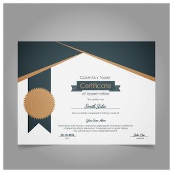 Certificado moderna de apreciação