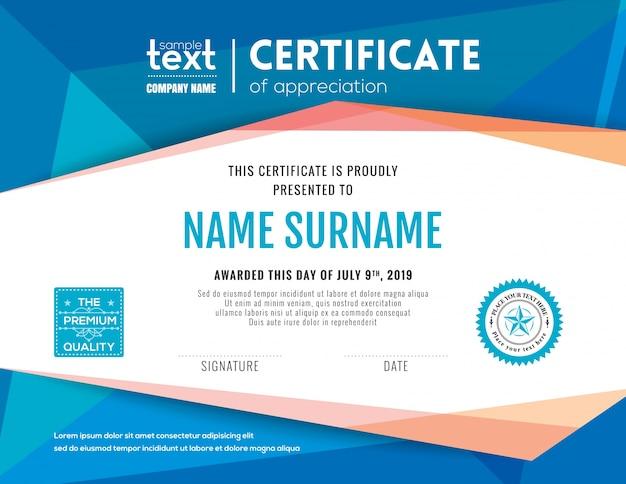 Certificado moderno com o molde azul do projeto do fundo polygonal