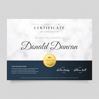 Certificado moderno com textura de mármore