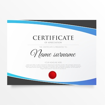 Certificado moderno de apreciação com formas abstratas