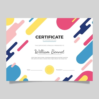 Certificado moderno de design plano