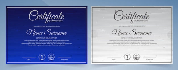 Certificado moderno de modelo de conquista, azul e branco.