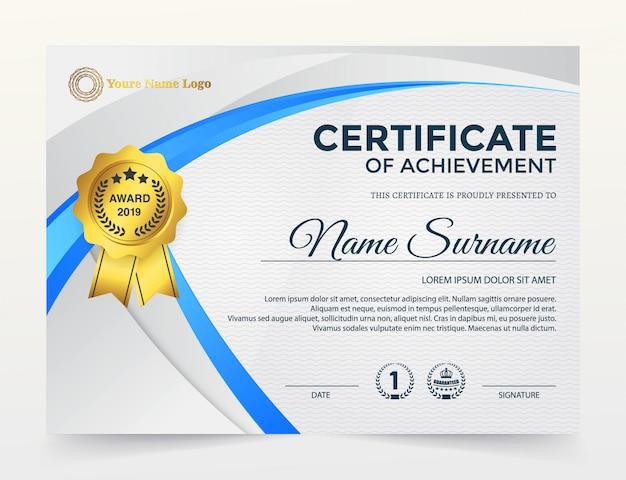 Certificado moderno de modelo de conquista, cor azul e ouro.