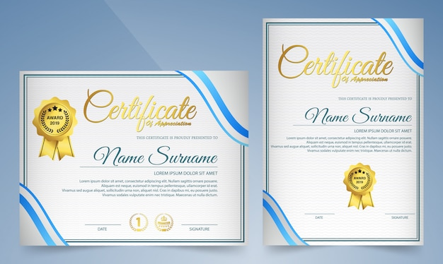 Certificado moderno de modelo de conquista, ouro e azul.