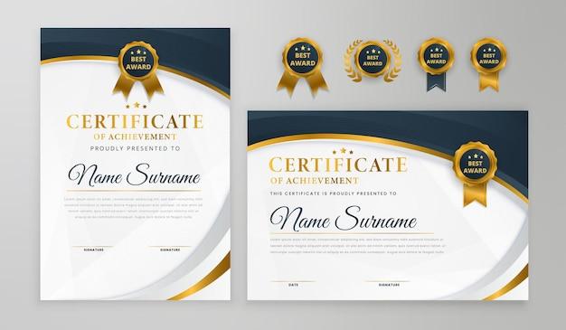 Certificado moderno gradiente elegante em azul e ouro com crachá e modelo a4 de vetor de borda