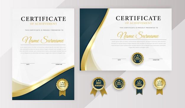 Certificado moderno modelo de melhor prêmio com diploma com crachá Vetor Premium