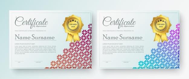 Certificado moderno ou modelo de diploma