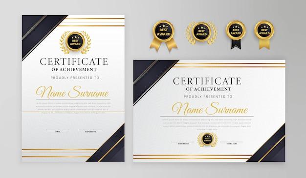 Certificado moderno preto e dourado