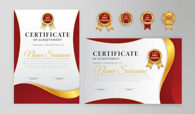 Certificado moderno vermelho e dourado