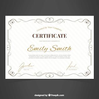 Certificado ornamental de excelência
