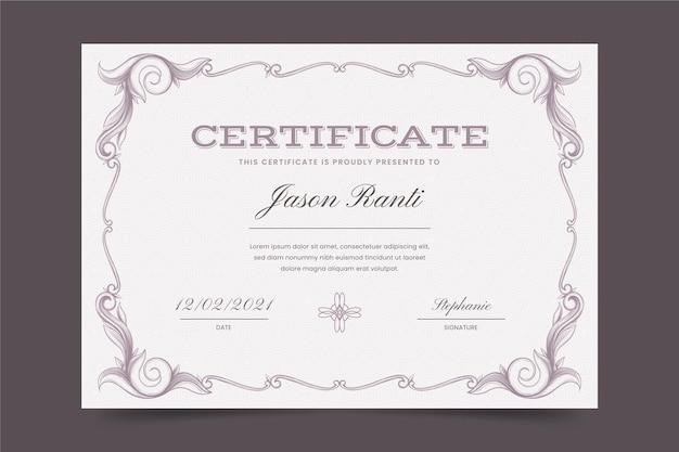 Certificado ornamental de gravura desenhada à mão