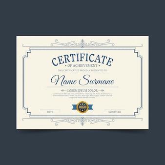 Certificado ornamental desenhado à mão