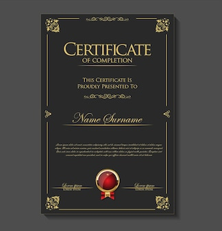 Certificado ou diploma de design retro vintage