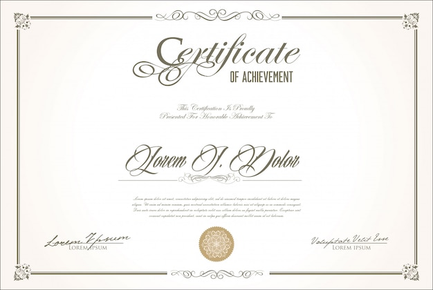 Certificado ou diploma design retro vintage