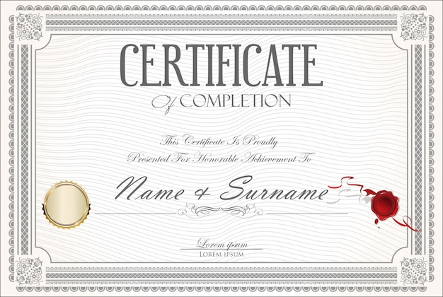 Certificado ou diploma design retro