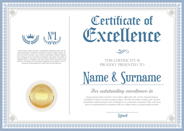 Certificado ou diploma retro