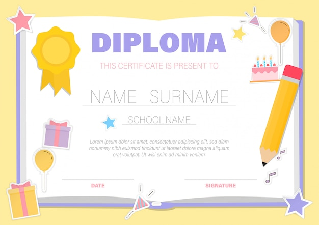 Certificado para crianças, modelos de fundo de certificados de graduação de jardim de infância
