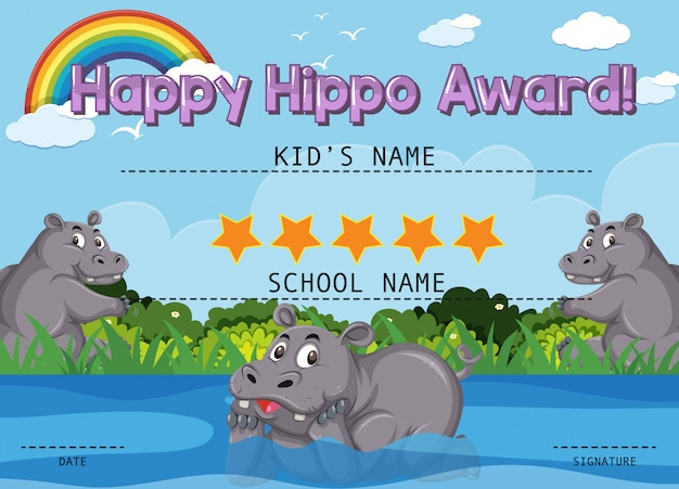 Certificado para feliz prêmio com hipopótamo no parque