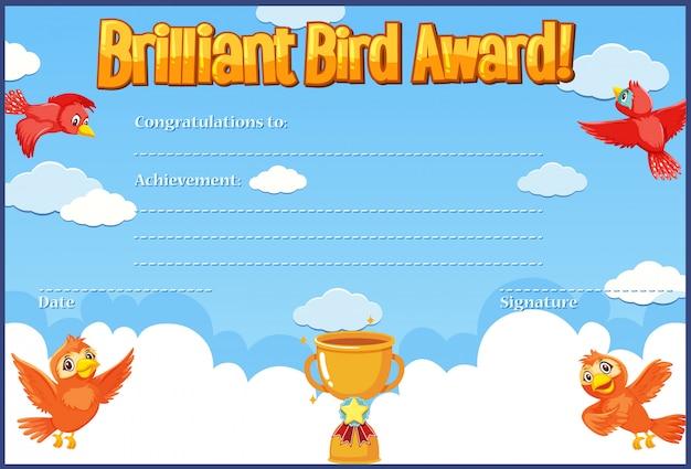 Certificado para prêmio brilhante com pássaros voando