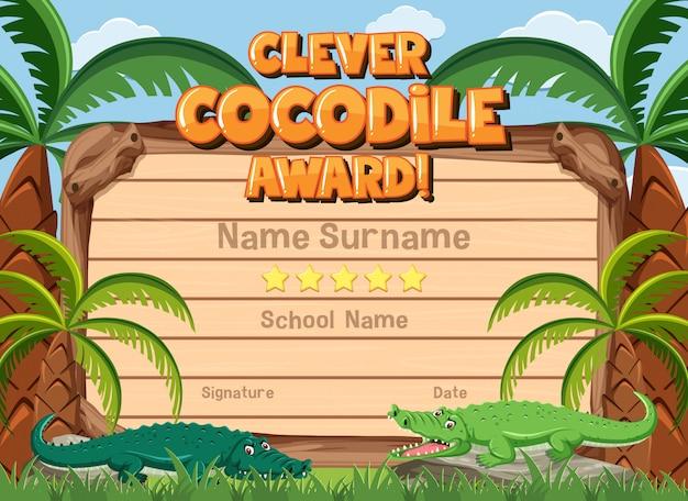 Certificado para prêmio inteligente com crocodilos