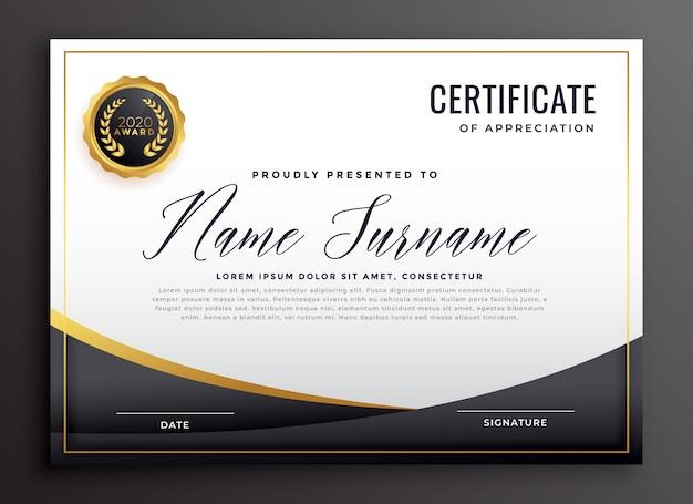 Certificado preto de modelo de agradecimento