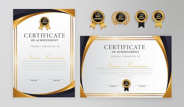 Certificado preto e dourado com crachá e borda para negócios e modelo de diploma