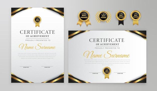 Certificado preto e dourado com crachá e modelo a4 de vetor de borda