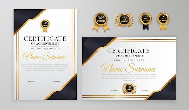 Certificado preto e dourado com emblemas e modelo a4 de vetor de borda