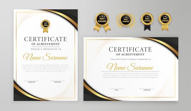 Certificado preto e dourado de linhas onduladas de luxo com emblemas e modelo a4 de vetor de borda