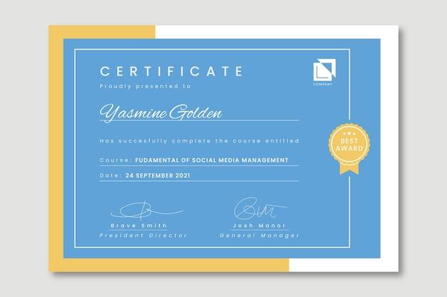 Certificado profissional de gerenciamento de mídia social duotone